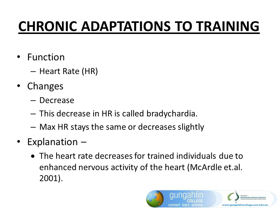 CHRONIC ADAPTATIONS TO TRAINING Function – Heart Rate (HR) Changes – Decrease – This decrease in HR is called bradychardia. – Max HR stays the same or