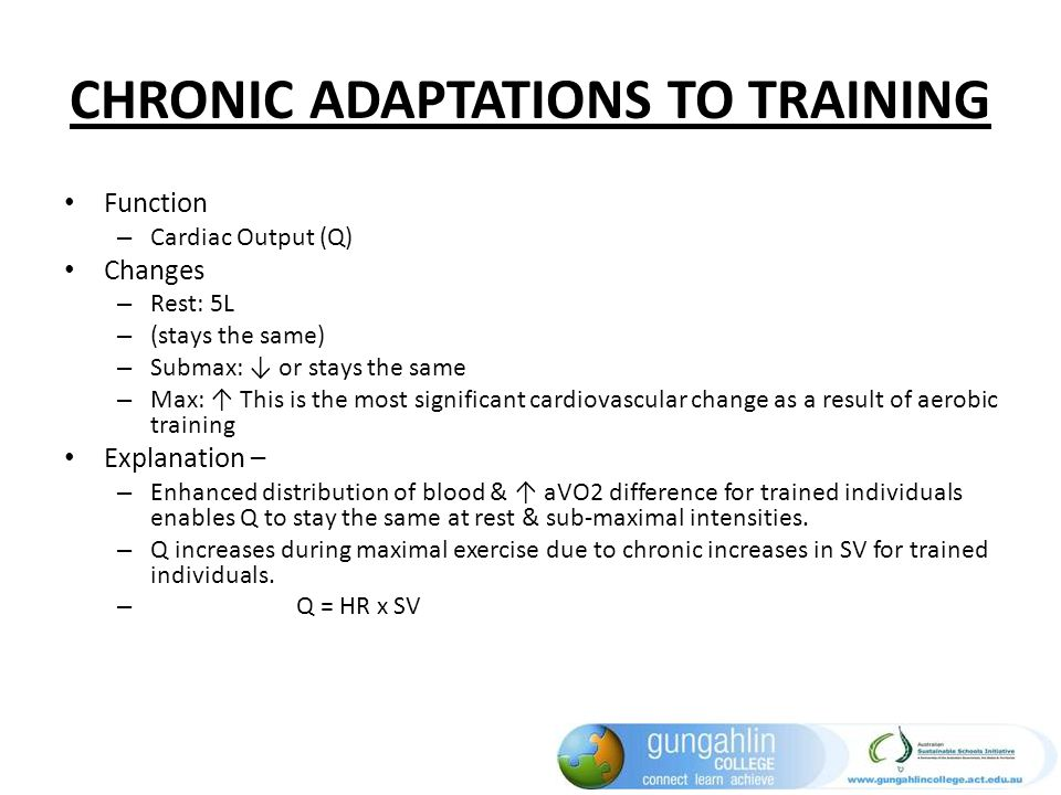 CHRONIC ADAPTATIONS TO TRAINING Function – Cardiac Output (Q) Changes – Rest: 5L – (stays the same) – Submax: or stays the same – Max: This is the mos