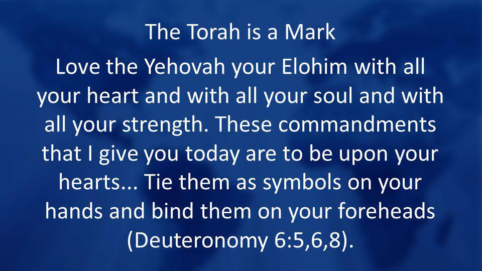 The Torah is a Mark Love the Yehovah your Elohim with all your heart and with all your soul and with all your strength. These commandments that I give