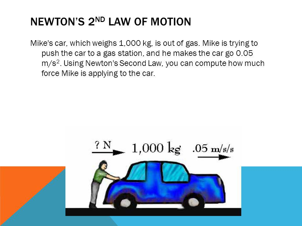 NEWTONS 2 ND LAW OF MOTION Mike's car, which weighs 1,000 kg, is out of gas. Mike is trying to push the car to a gas station, and he makes the car go