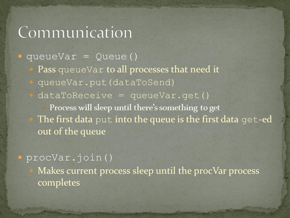 queueVar = Queue() Pass queueVar to all processes that need it queueVar.put(dataToSend) dataToReceive = queueVar.get() Process will sleep until theres