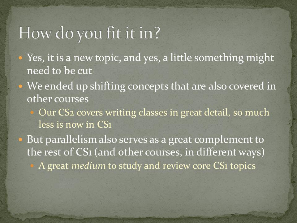 Yes, it is a new topic, and yes, a little something might need to be cut We ended up shifting concepts that are also covered in other courses Our CS2