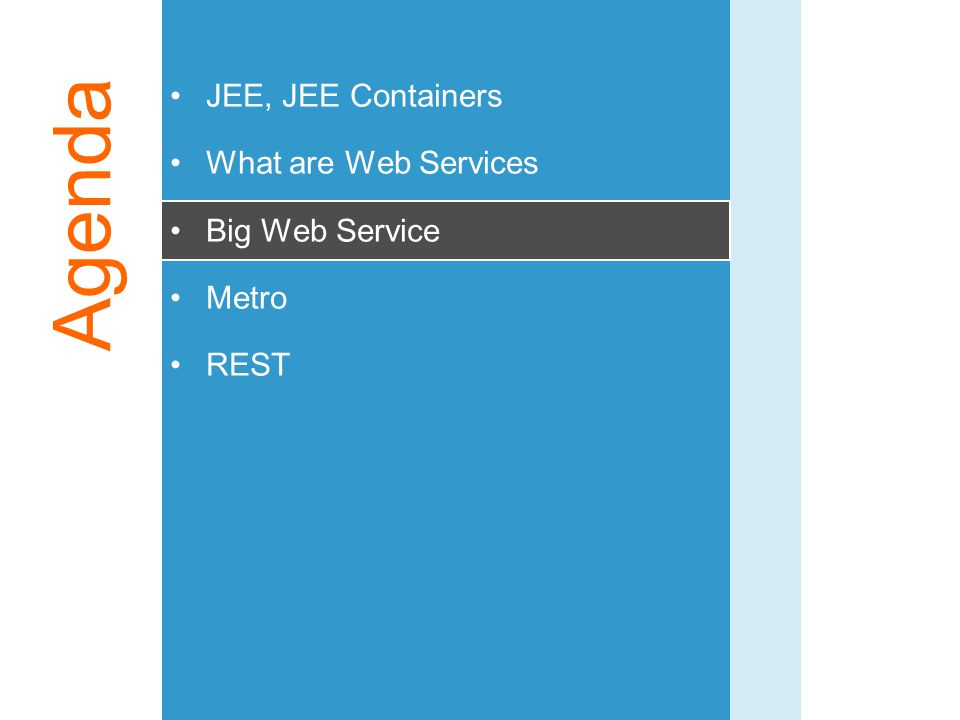 Agenda JEE, JEE Containers What are Web Services Big Web Service Metro REST