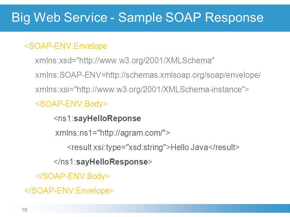 Big Web Service - Sample SOAP Response <SOAP-ENV:Envelope xmlns:xsd=