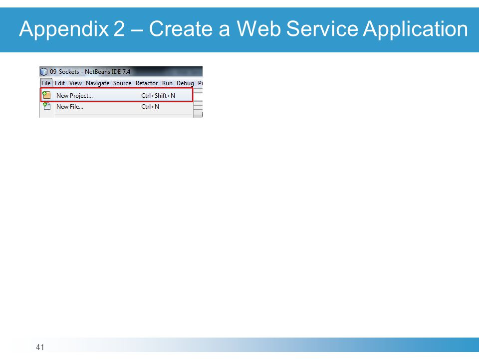 Appendix 2 – Create a Web Service Application 41