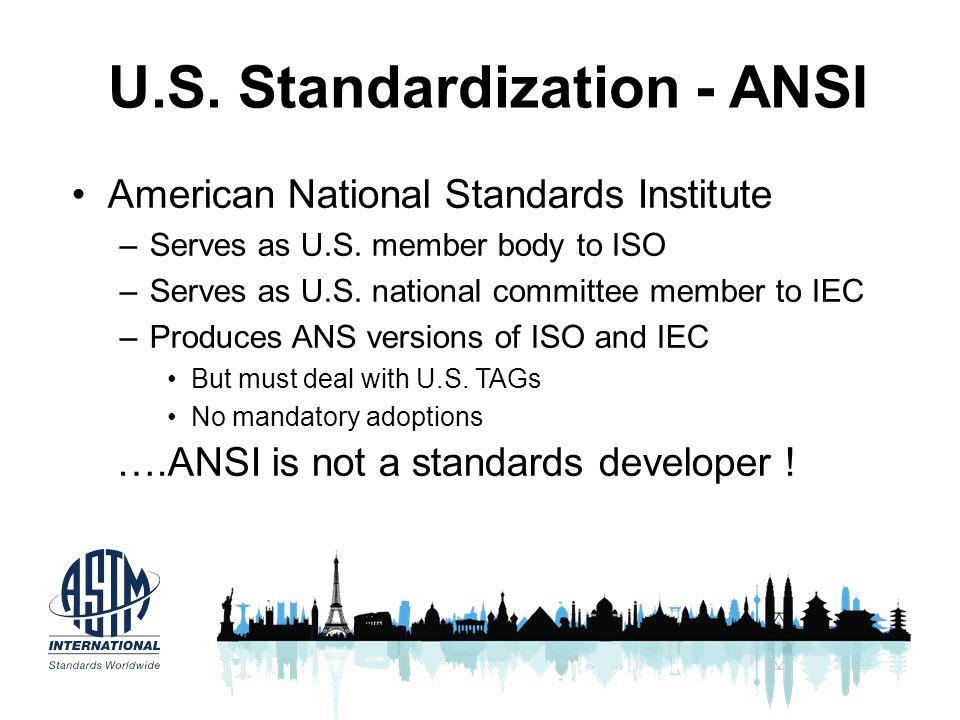 U.S. Standardization - ANSI American National Standards Institute –Serves as U.S. member body to ISO –Serves as U.S. national committee member to IEC