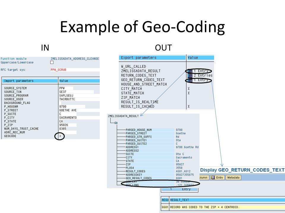 Example of Geo-Coding 17 INOUT
