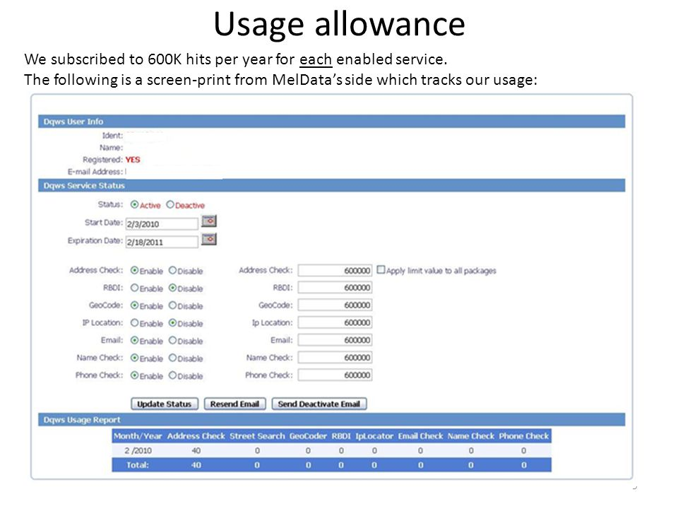 Usage allowance We subscribed to 600K hits per year for each enabled service. The following is a screen-print from MelDatas side which tracks our usag