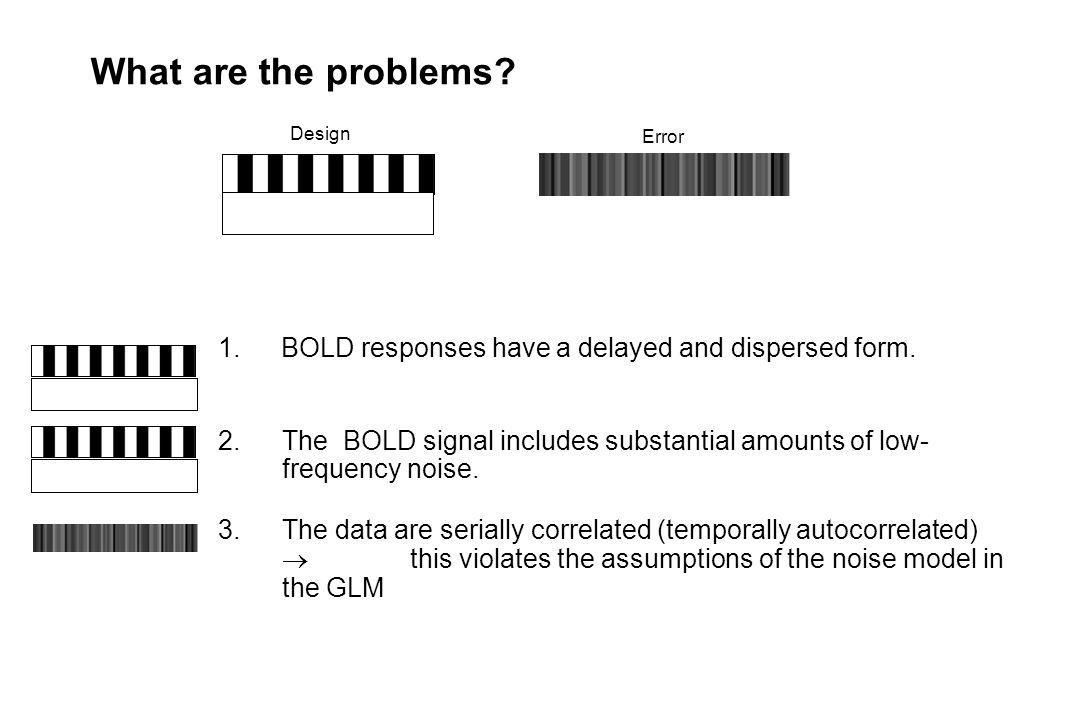 What are the problems? 1. BOLD responses have a delayed and dispersed form. 2.The BOLD signal includes substantial amounts of low- frequency noise. 3.