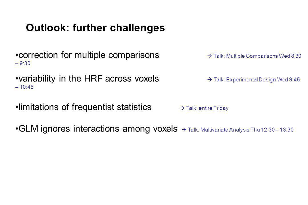 Outlook: further challenges correction for multiple comparisons Talk: Multiple Comparisons Wed 8:30 – 9:30 variability in the HRF across voxels Talk:
