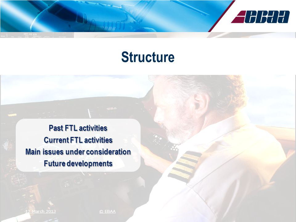 Structure Past FTL activities Current FTL activities Main issues under consideration Future developments 12 March 2013© EBAA