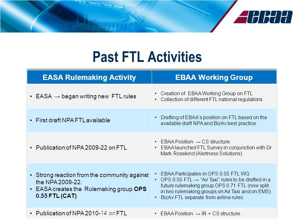Past FTL Activities © EBAA