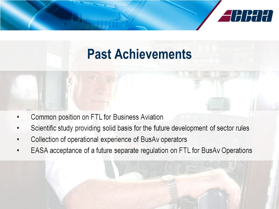 Past Achievements Common position on FTL for Business Aviation Scientific study providing solid basis for the future development of sector rules Colle