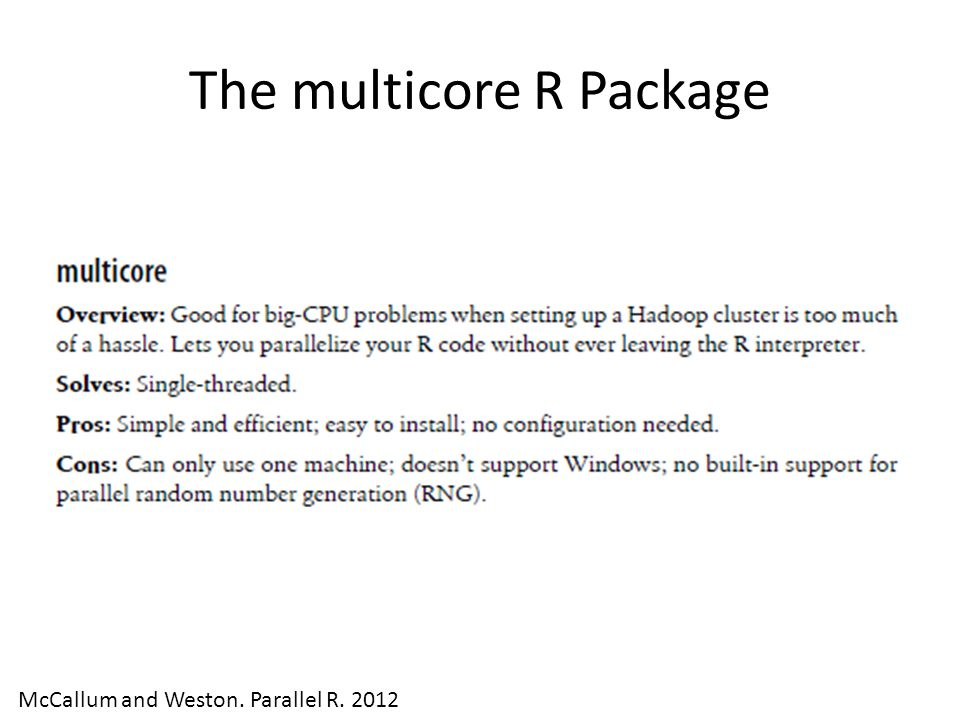 The multicore R Package McCallum and Weston. Parallel R. 2012