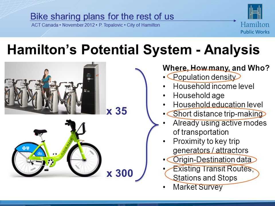 Bike sharing plans for the rest of us ACT Canada November 2012 P.