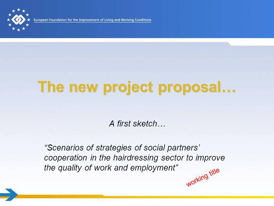 The new project proposal… A first sketch… Scenarios of strategies of social partners cooperation in the hairdressing sector to improve the quality of