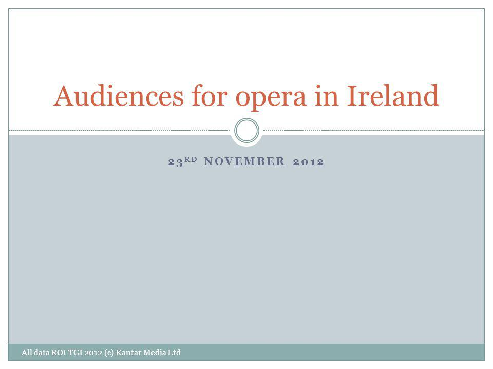23 RD NOVEMBER 2012 Audiences for opera in Ireland All data ROI TGI 2012 (c) Kantar Media Ltd