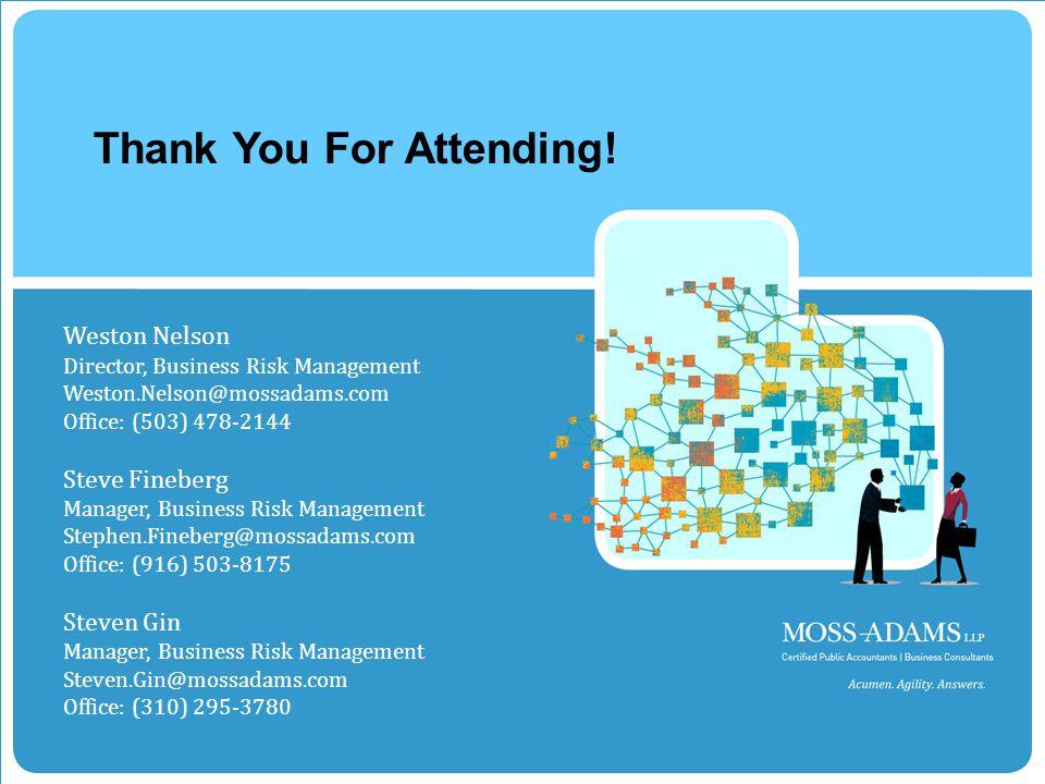 MOSS ADAMS LLP | 31 Thank You For Attending.