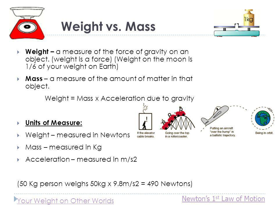 Weight vs. Mass Weight – a measure of the force of gravity on an object. (weight is a force) (Weight on the moon is 1/6 of your weight on Earth) Mass
