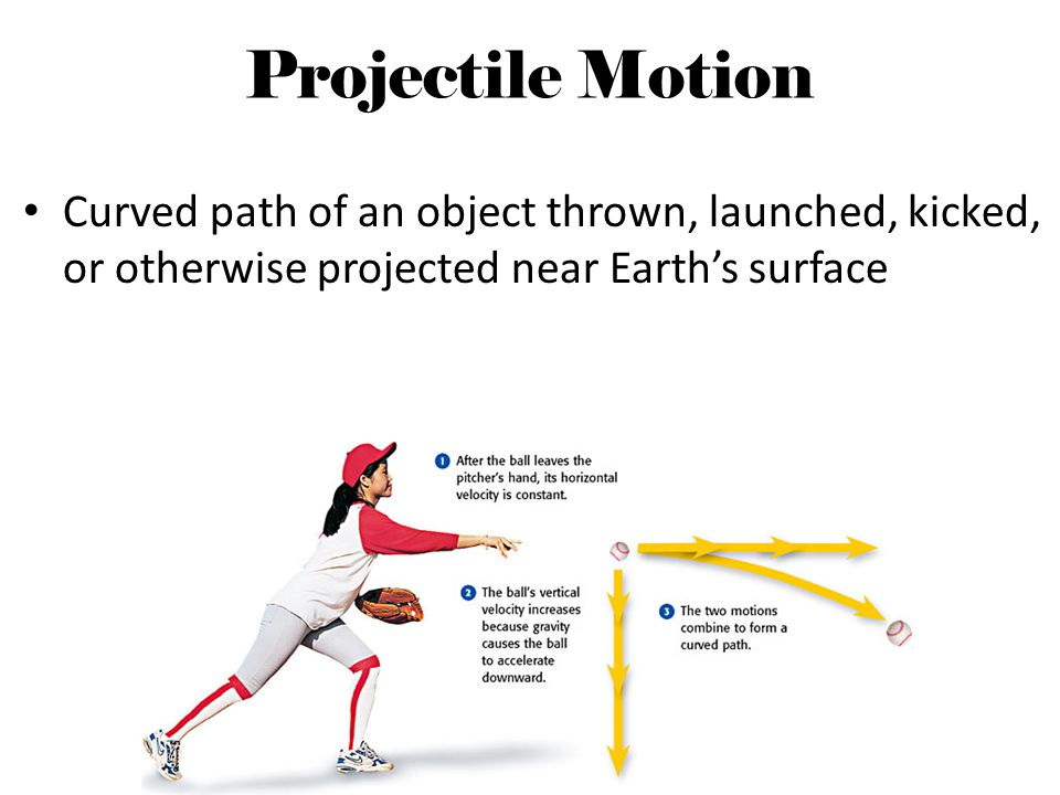 Projectile Motion Curved path of an object thrown, launched, kicked, or otherwise projected near Earths surface