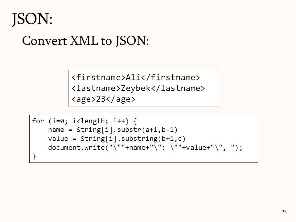 JSON: 25 Ali Zeybek 23 for (i=0; i<length; i++) { name = String.substr(a+1,b-1) value = String.substring(b+1,c) document.write(name, value); } Convert