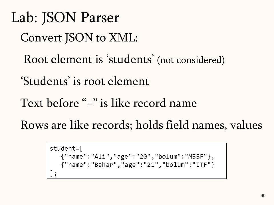 Lab: JSON Parser 30 student=[ {