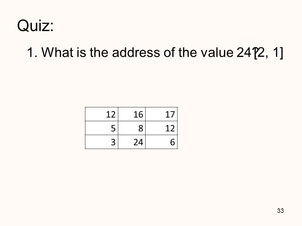 Quiz: 1. What is the address of the value 24? 33 121617 5812 3246 [2, 1]