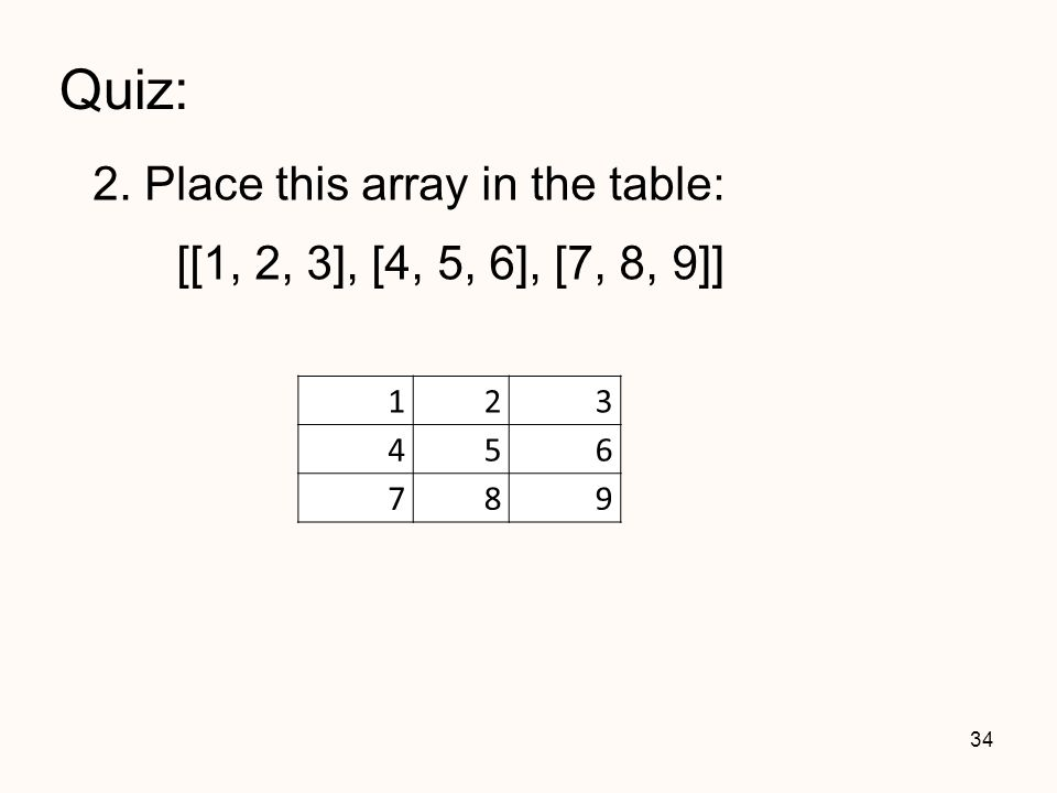Quiz: 2. Place this array in the table: 34 123 456 789 [[1, 2, 3], [4, 5, 6], [7, 8, 9]]