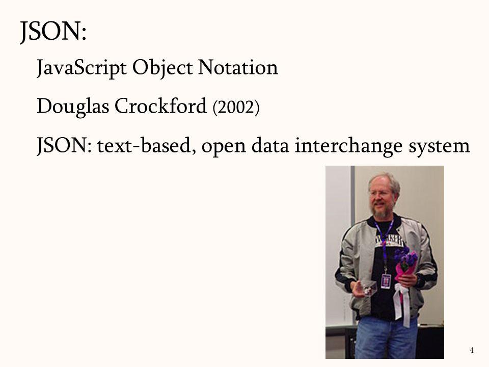 JavaScript Object Notation Douglas Crockford (2002) JSON: text-based, open data interchange system JSON: 4