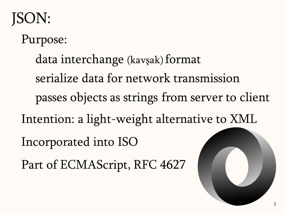 JSON versus XML: JSON: 16 students= [ {name: Ali, age: 20, bolum: MBBF}, {name: Bahar, age: 21, bolum: ITF} ] Ali 20 MBBF Erkek Bahar 21 ITF Hanim