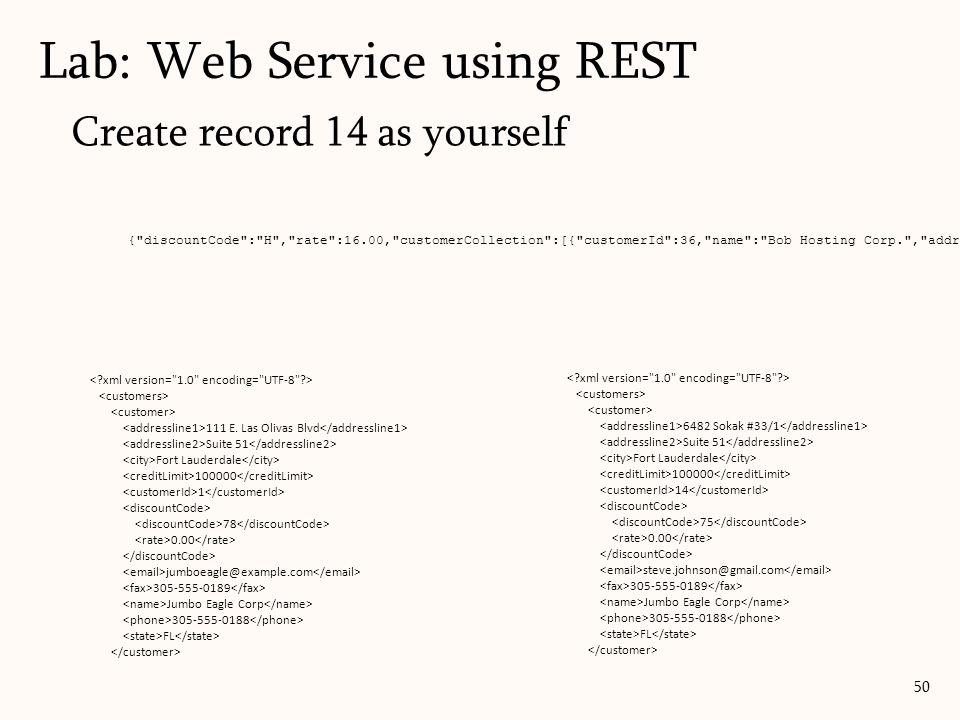 Create record 14 as yourself Lab: Web Service using REST 50 111 E. Las Olivas Blvd Suite 51 Fort Lauderdale 100000 1 78 0.00 jumboeagle@example.com 30