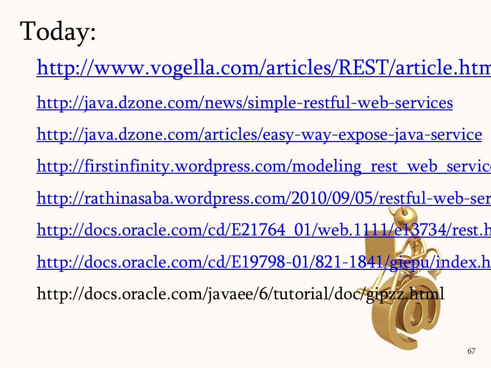 http://www.vogella.com/articles/REST/article.html http://java.dzone.com/news/simple-restful-web-services http://java.dzone.com/articles/easy-way-expos