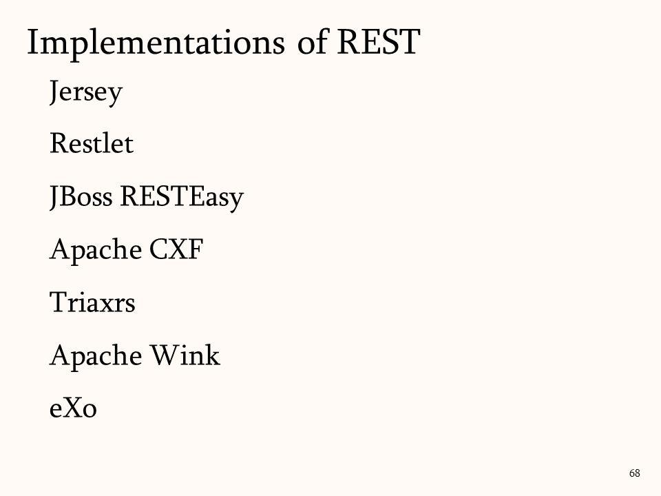 Jersey Restlet JBoss RESTEasy Apache CXF Triaxrs Apache Wink eXo Implementations of REST 68