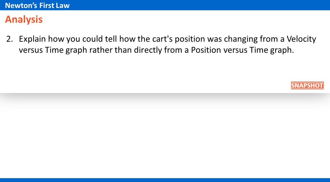 Analysis 2.Explain how you could tell how the cart's position was changing from a Velocity versus Time graph rather than directly from a Position vers