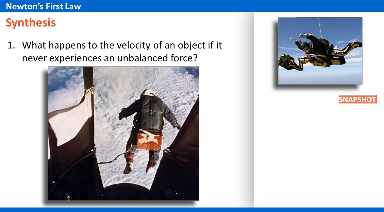 Synthesis 1.What happens to the velocity of an object if it never experiences an unbalanced force? Newtons First Law