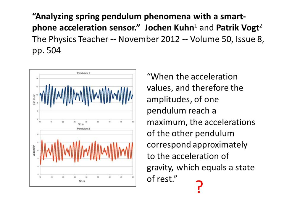 When the acceleration values, and therefore the amplitudes, of one pendulum reach a maximum, the accelerations of the other pendulum correspond approx