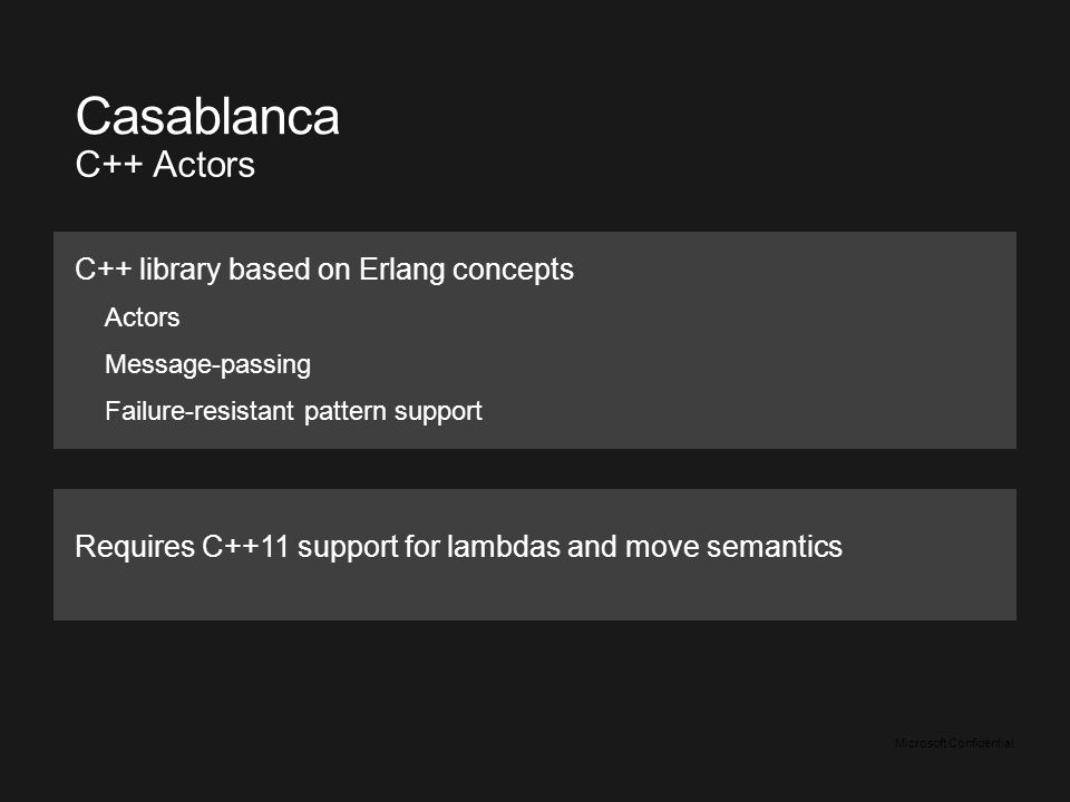 Microsoft Confidential. Requires C++11 support for lambdas and move semantics Casablanca C++ Actors C++ library based on Erlang concepts Actors Messag