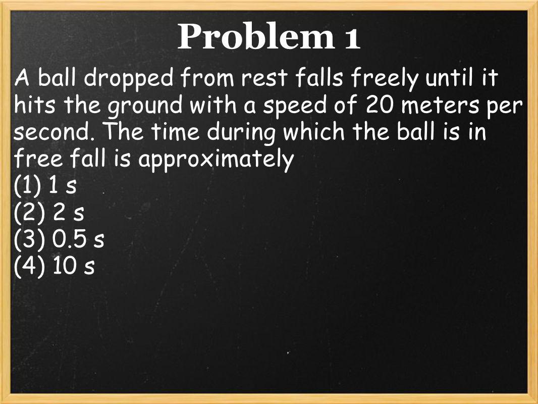 Solution to Problem 1 V = at t = V a t = 20 m/s -9.81 m/s^2 (2) t = 2 seconds