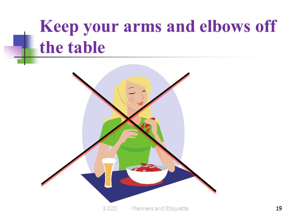 19 Keep your arms and elbows off the table 193.02DManners and Etiquette