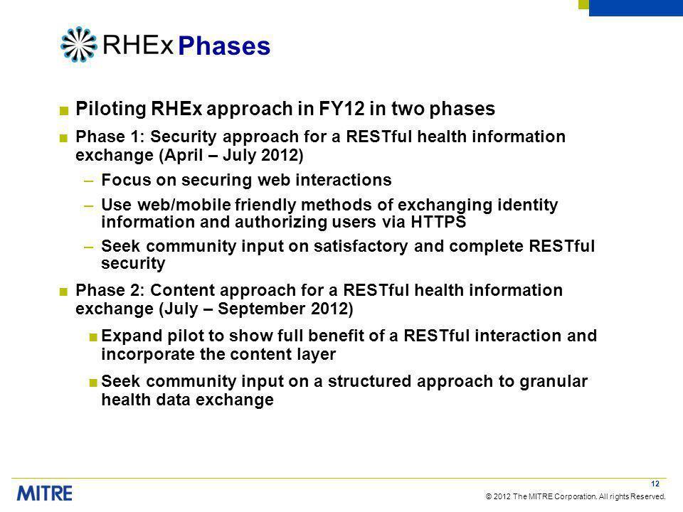 © 2012 The MITRE Corporation. All rights Reserved. Phases Piloting RHEx approach in FY12 in two phases Phase 1: Security approach for a RESTful health