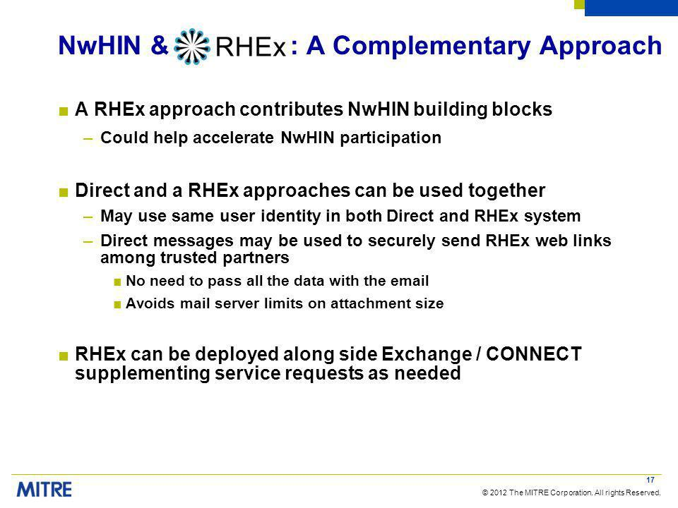 © 2012 The MITRE Corporation. All rights Reserved. NwHIN & : A Complementary Approach A RHEx approach contributes NwHIN building blocks –Could help ac