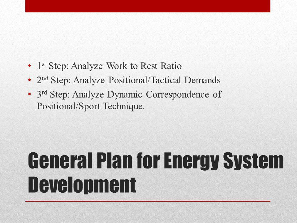 General Plan for Energy System Development 1 st Step: Analyze Work to Rest Ratio 2 nd Step: Analyze Positional/Tactical Demands 3 rd Step: Analyze Dynamic Correspondence of Positional/Sport Technique.