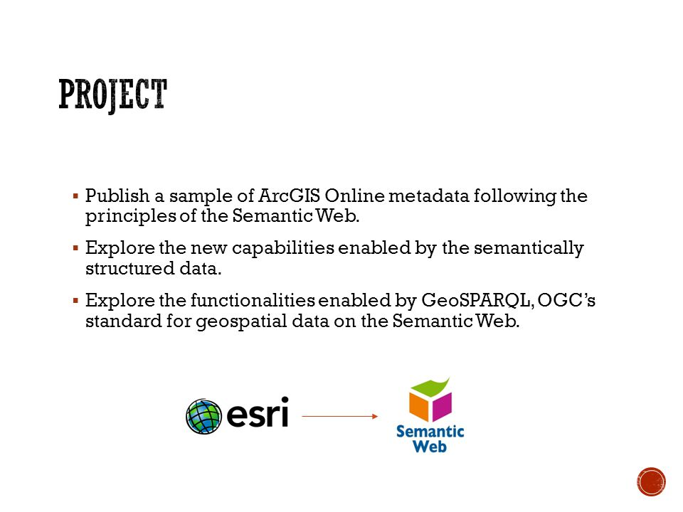 Publish a sample of ArcGIS Online metadata following the principles of the Semantic Web. Explore the new capabilities enabled by the semantically stru