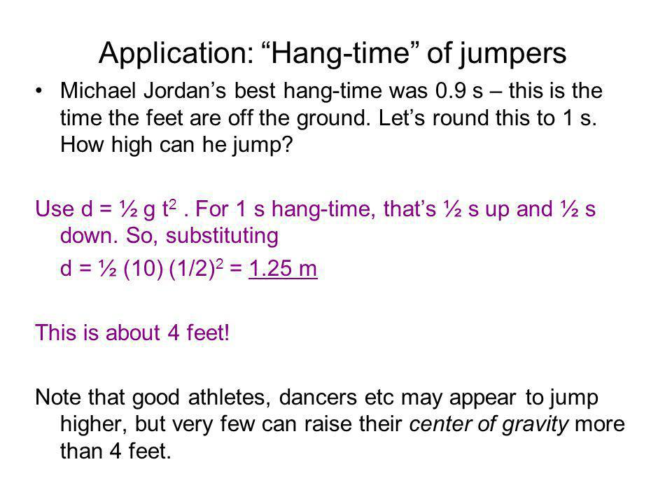 Application: Hang-time of jumpers Michael Jordans best hang-time was 0.9 s – this is the time the feet are off the ground.