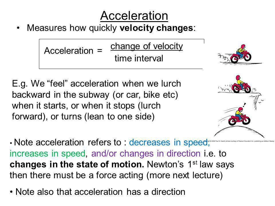 Acceleration Measures how quickly velocity changes: Acceleration = change of velocity time interval E.g.