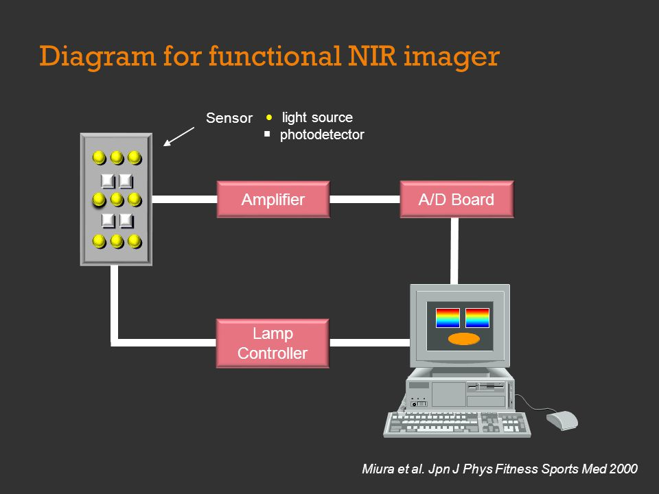 Diagram for functional NIR imager Amplifier Sensor light source photodetector A/DBoard A/D Board Lamp Controller Lamp Controller Miura et al.
