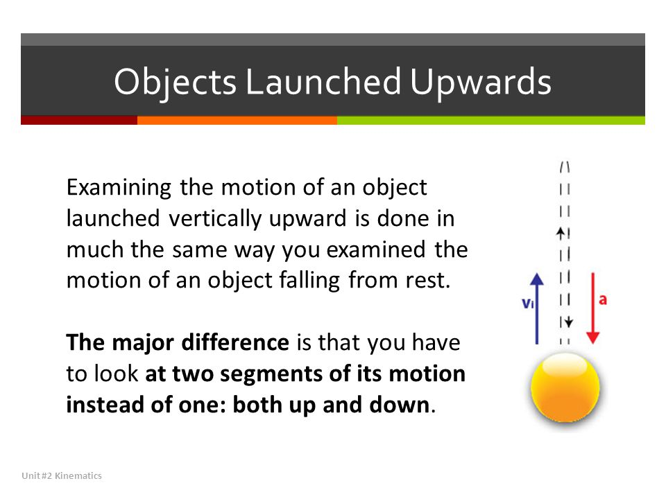 Objects Launched Upwards Unit #2 Kinematics Examining the motion of an object launched vertically upward is done in much the same way you examined the