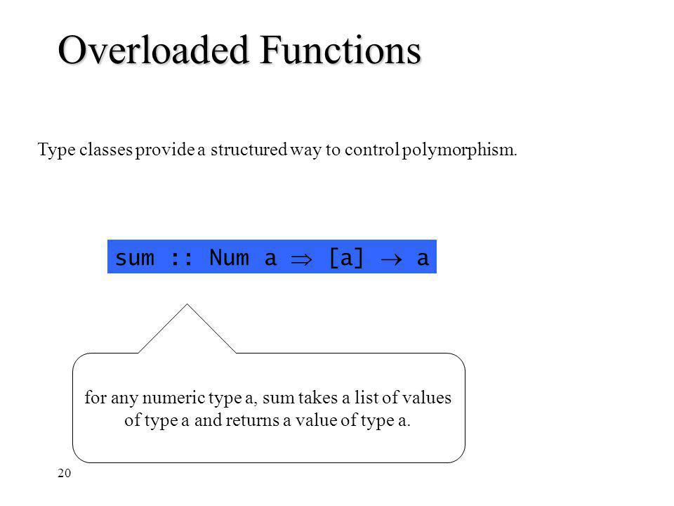 20 Overloaded Functions Type classes provide a structured way to control polymorphism.