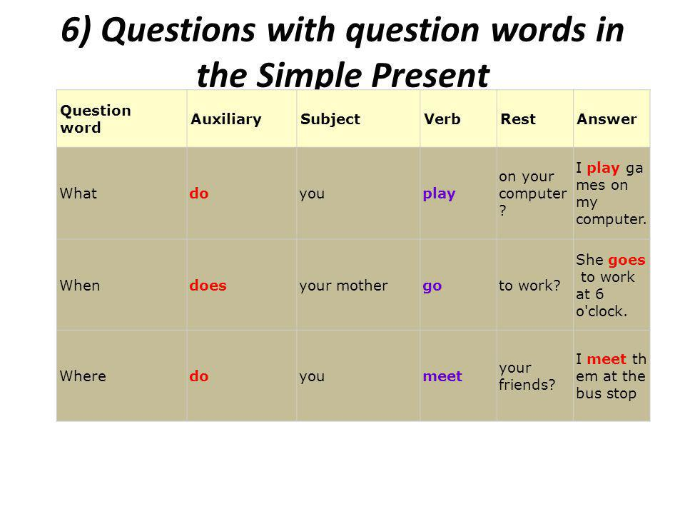 6) Questions with question words in the Simple Present Question word AuxiliarySubjectVerbRestAnswer Whatdoyouplay on your computer .