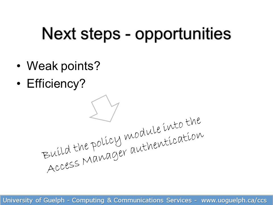 29 Next steps - opportunitiesNext steps - opportunities Weak points? Efficiency? University of Guelph - Computing & Communications Services - www.uogu